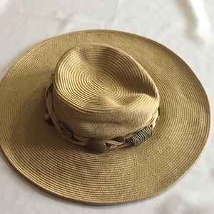 Cappella Boho Beaded Brimmed Straw Festival Hat